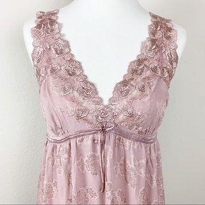 Soma Silk blend dusty rose lace midi chemise